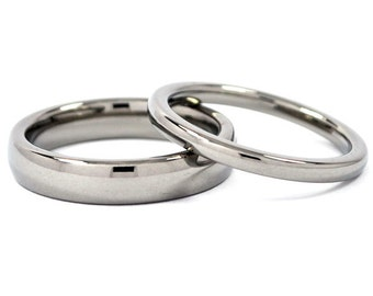 Matching Titanium His and Hers Ring Set, Titanium promise rings, bands: 4HRP.2HRP