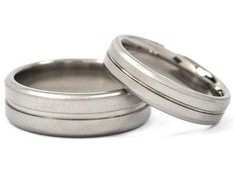 Matching His and Her's Titanium Wedding Ring Set:  7B1G-XB.5B1G-XB