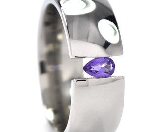 New 8 mm Titanium Tension Setting Ring with a Teardrop Gemstone