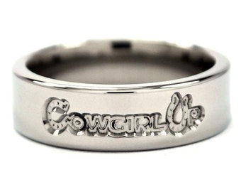 "New 6mm ""Cowgirl Up"" Titanium Ring: 6FP-Cowgirl Up"