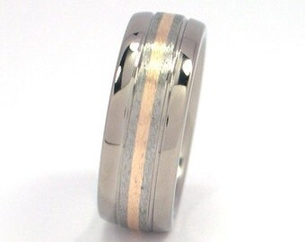 New 7mm Titanium Wedding Ring With 14k Yellow Gold Inlay, Free Sizing Jewelry 4-17