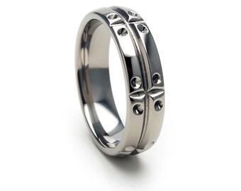 New Comfort Fit MATRIX Titanium Ring, Free Sizing Jewelry 4-17