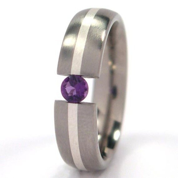 Choose Your Gem - 5 mm Titanium Tension Set Band, Sterling Silver Inlay: 5HR11G-B-SS-U.PIC (or ALX)