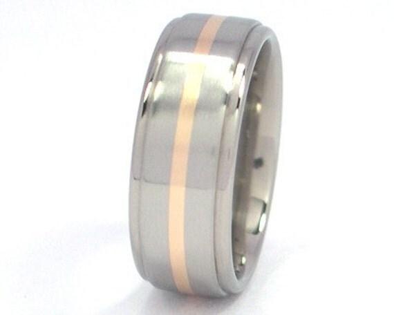 New 7mm Titanium Wedding Ring With 14k Yellow Gold Inlay, Free Sizing Jewelry 4-17