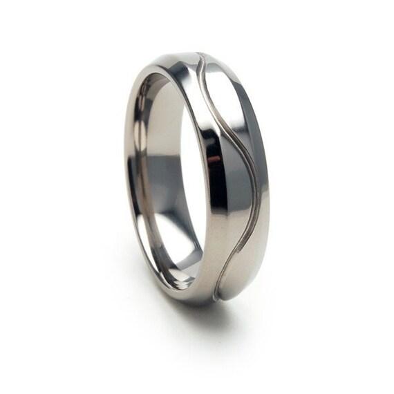 New 6mm Polished WAVY LINE Titanium Ring, Free Jewelry Sizing 4-17