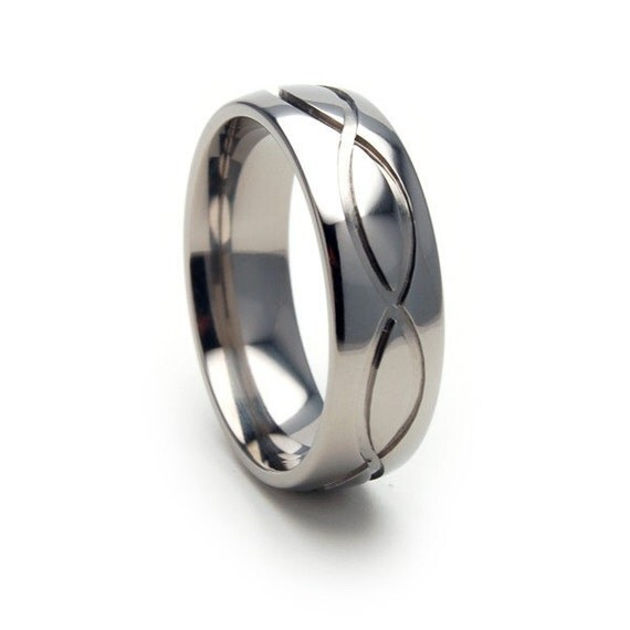 New Comfort Fit INFINITY Titanium Band, Free Ring Sizing 4-17: 7HR-INFINITY-T8