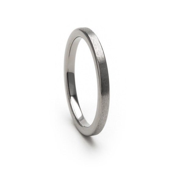 New 2mm Flat Stone Finish Comfort Fit, Custom Titanium Ring-2F-ST