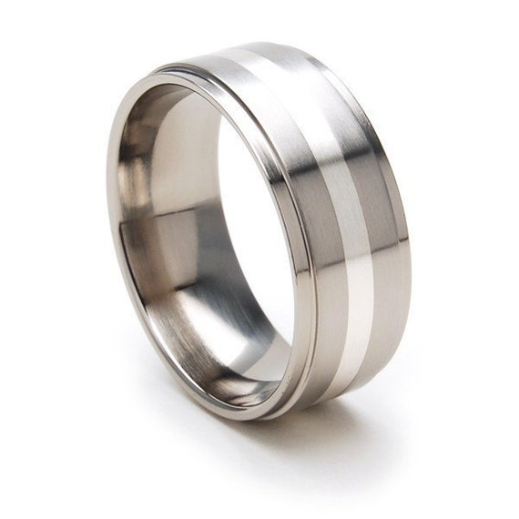 New Comfort Fit, 9mm Titanium Ring, Sterling Silver Inlay, Free Sizing Band 4-17