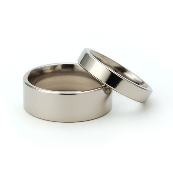 New His And Hers Wedding Band Set - Titanium Rings:  8FP.4FP