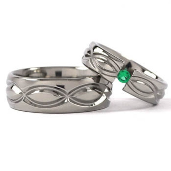 New Infinity His and Hers Tension Set Titanium Wedding Rings:8HRP.6HRP-TENS-INFINITY-T8