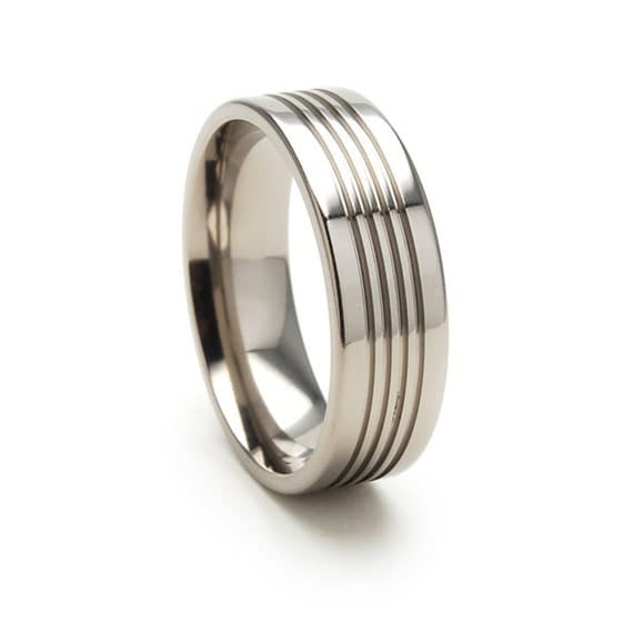 New 7 mm Titanium Wedding Ring with Comfort Fitting-7F3.5SEGNSBRT