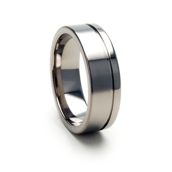 New 7 mm Titanium Wedding Ring with Comfort Fitting 7FGOC-BP