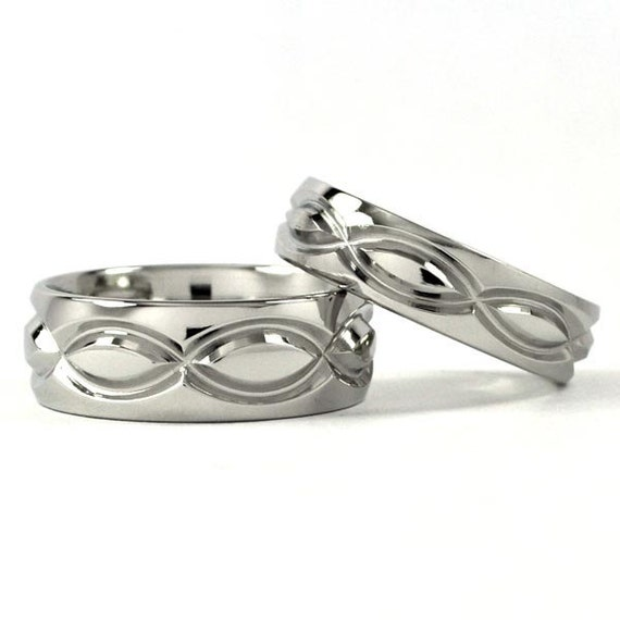Cobalt Infinity His and Hers Set Wedding Rings - Matching Set Rings