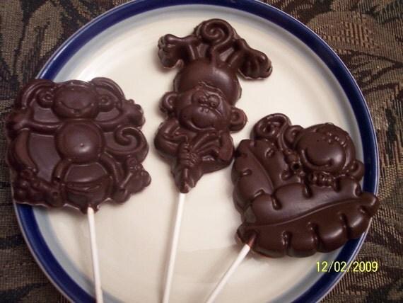 Solid Milk Chocolate Monkey Lollipop Suckers Set of 3 Great Valentine Gift for Children