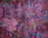 Batt - CatBatt - Lisianthus Wool Spinning or Felting Textured Art Batt - 4.1 oz.