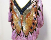 Vintage Sequined Butterfly Cape Blouse