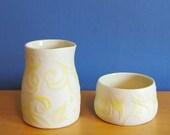 sugar and creamer set, embossed yellow swirls