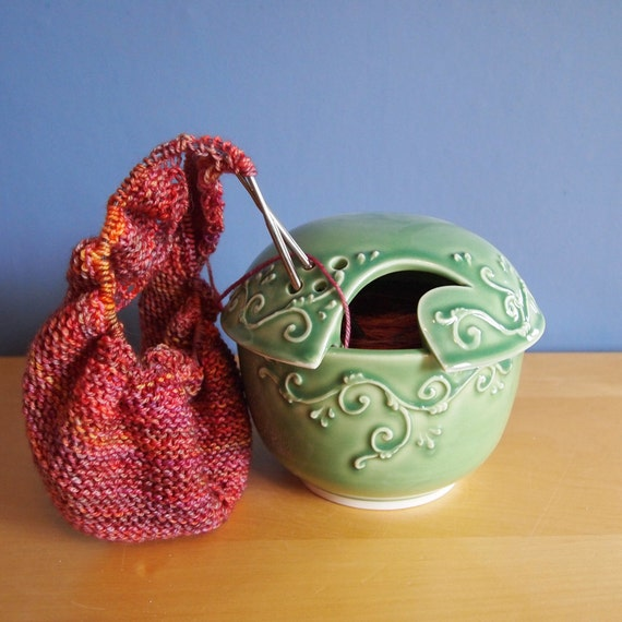 yarn bowl with scrolls in Spring Garden