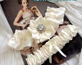 Ivory or White wedding Garters, Old, New, Borrowed, Blue, (Garter Set)