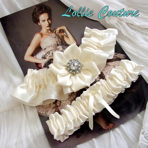 White Wedding Garters - Vintage Style Ivory or white satin garter