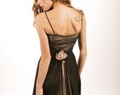 SUPER SALE-Vintage 1950's Long Black and Champagne Taffeta Gown with Bow and Flower Details