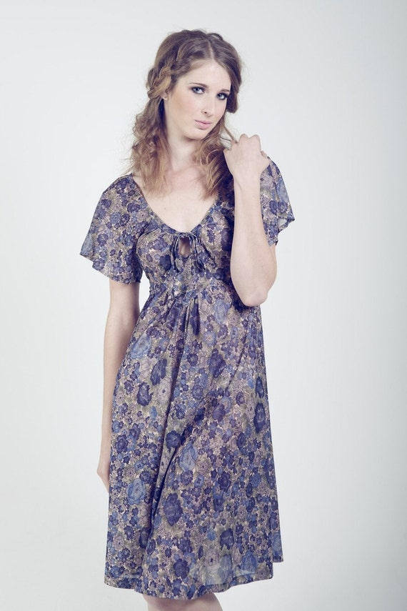 Vintage 1970's Blue Hues Sheer Floral Sundress