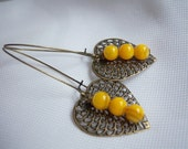 Milena earrings - Antique  Brass filligree and 6mm Yellow Mother of Pearl beads
