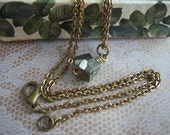 Necklace-Pendant/Pyrite Nugget and  Antique  Brass