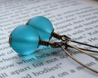 SOMETHING BLUE -Blue Earrings, Frosted Glass Earrings/Long Kidney Blue Earrings