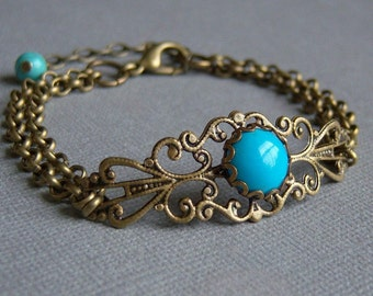 Blue Turquoise Howlite Vintage  Bracelet, Filigree With 10mm Lace Setting, Antique Brass