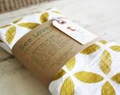 "Geometric Mustard Hand Printed Tea Towel Huge 30""x30"""