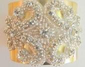 Golden Brass Cuff Bracelet with Gorgeous Stones