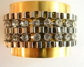 Solid Brass 2 inch cuff with Biker Metal Chain and Rhinestones