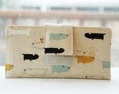 Handmade wallet japanese dogs fabric