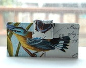 Handmade wallet beautiful bird and vintage postcards-Ready to Ship