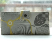 Handmade wallet white with gray and yellow flowers and leaves