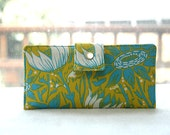 Last one Handmade vegan wallet in green and blue floral