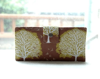 Handmade wallet in brown and green with trees