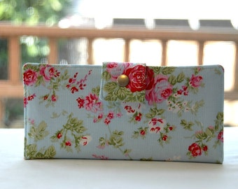 Women's Wallet    Handmade wallet light blue background with pink rose