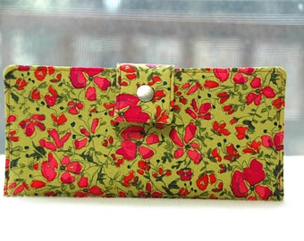 Wallet clutch womens   Handmade vegan cotton wallet green with pink floral