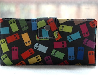 Wallet clutch womens police call boxes custom handmade vegan wallet cotton colorful