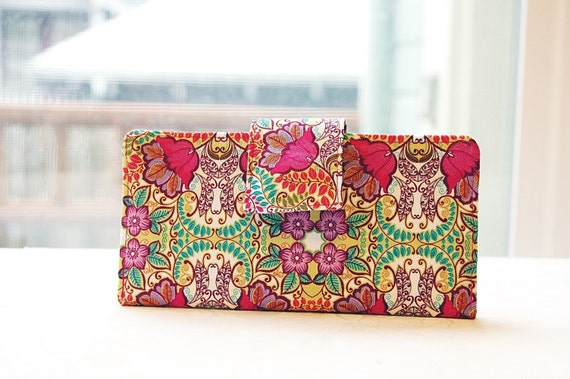 Perfect wallet handmade bright and vivid floral pattern