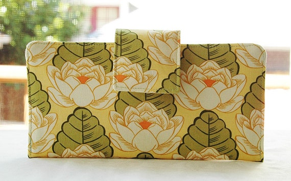 Wallet clutch womens   Perfect wallet in Amy Butler Lotus Flower Green