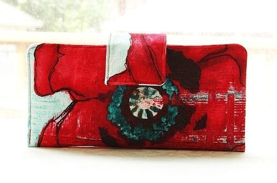 Mio Caro Perfect wallet handmade fabric red poppy