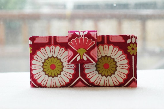 Handmade womens wallet   Handmade wallet pink and red floral beautiful