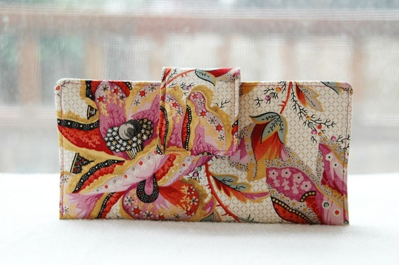 Handmade womens wallet   Handmade wallet fabric clutch in gorgeous bold florals