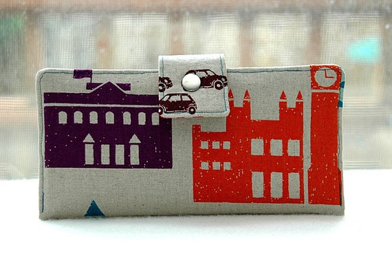 Handmade wallet London in linen japanese import fabric