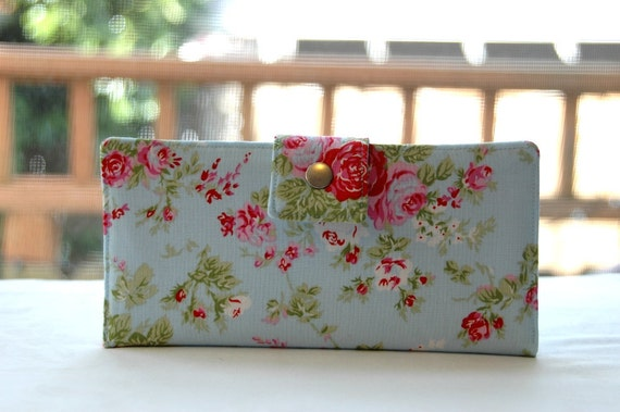 Last one  Handmade wallet light blue background with pink rose
