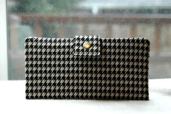 Bi fold wallet handmade clutch houndstooth black and gray