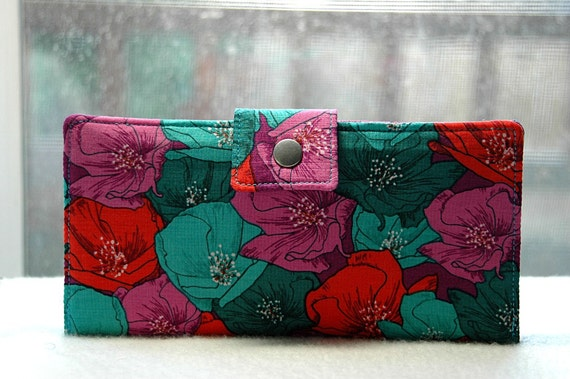 Handmade womens wallet   Bi fold wallet handmade poppies in bold vibrant turquoise, purple and red
